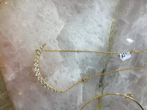 Large diamond moon and star necklace