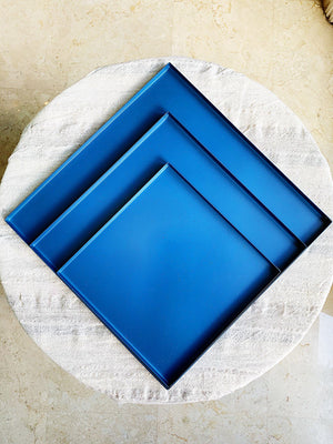 Blue Ocean Square  Trays  Trio by Blank Slate Home