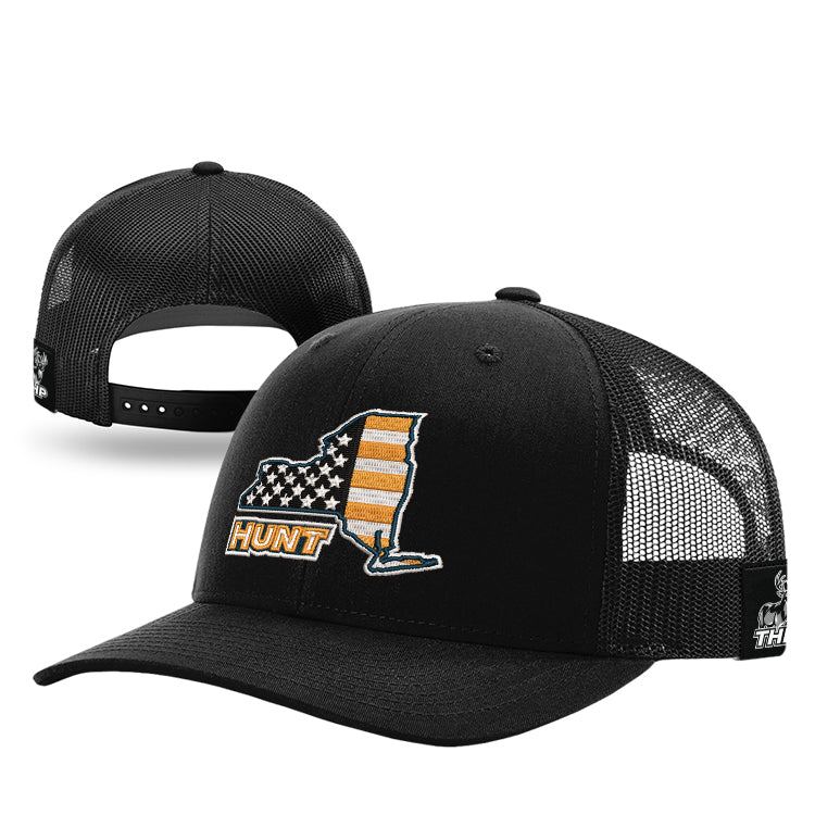 New York HUNT Orange American Flag Trucker Hat