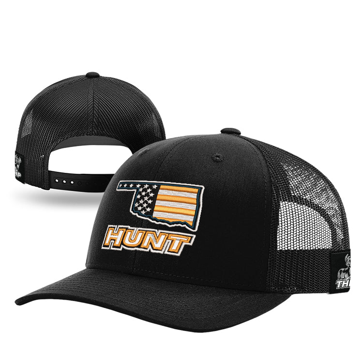 Oklahoma HUNT Orange American Flag Trucker Hat