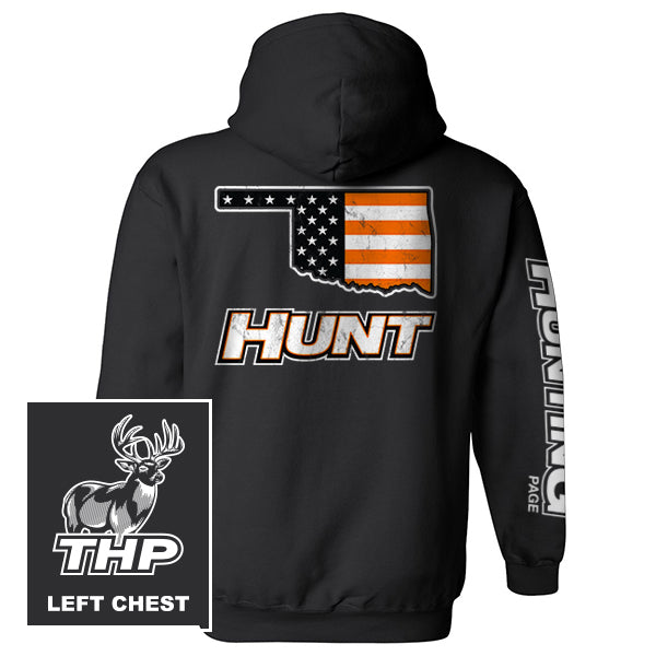 Oklahoma HUNT Orange American Flag