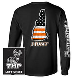 New Hampshire HUNT Orange American Flag