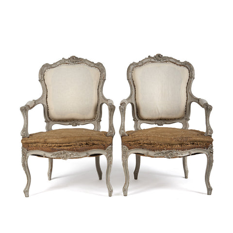 Pair of Painted Carved Armchairs