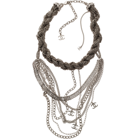 Silver Twisted Rope Choker Chanel Necklace