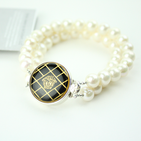 Black and Gold Double Strand Bracelet with Authentic Versace Button