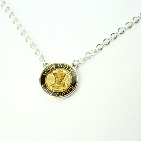 Silver Strand Necklace with Black and Gold Authentic Louis Vuitton Button
