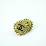 Black and Gold Matte Clip-On Earrings with Authentic Chanel Button