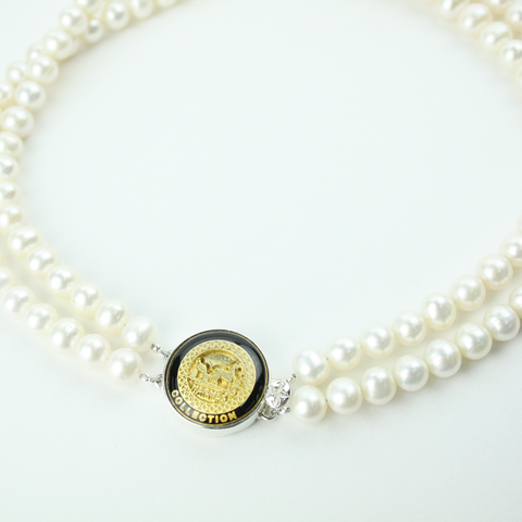 Black and Gold Double Strand Necklace with Authentic Hermes Button