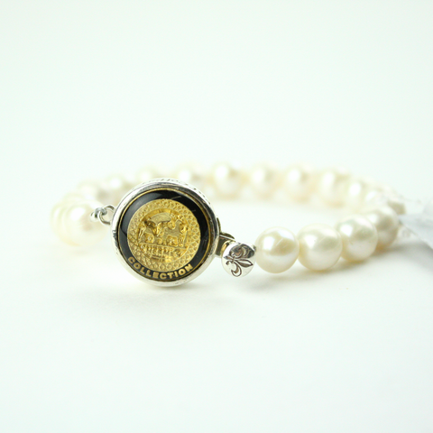 Black and Gold Single Strand Bracelet with Authentic Hermes Button