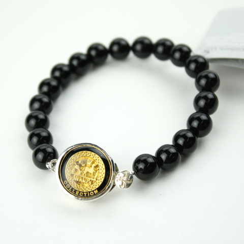 Black and Gold Black Single Strand Bracelet with Authentic Hermes Button