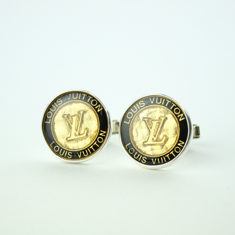 Black and Gold Cufflinks with Authentic Louis Vuitton Button
