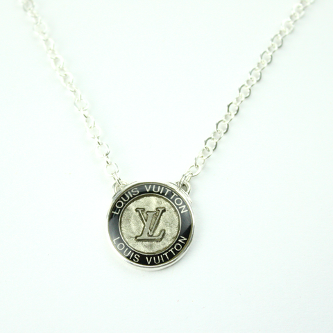 Silver Strand Necklace with Authentic Black and Silver Louis Vuitton Button