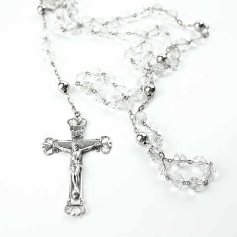 Clear Crystal Rosary Necklace