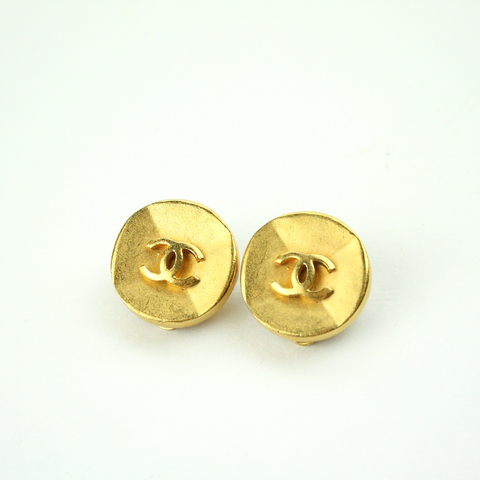 Textured Matte Gold Clip-On Earrings with Authentic Chanel Button