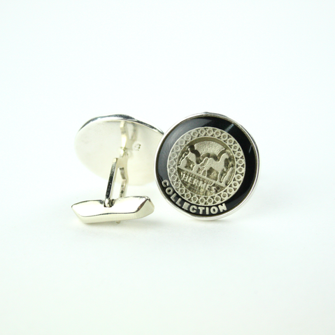 Black and Silver Cufflinks with Authentic Hermes Button