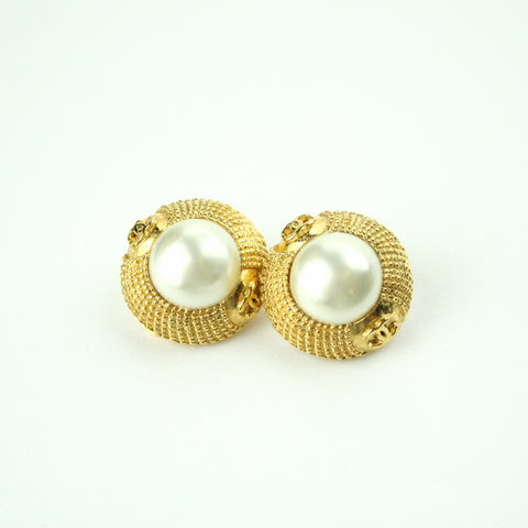 Gold and Pearl Clip-On Earrings with Authentic Chanel Button