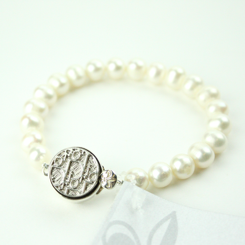 Silver Single Strand Bracelet with Authentic Dior Button