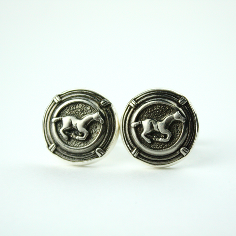 Silver Cufflinks with Authentic Ralph Lauren Horse Button