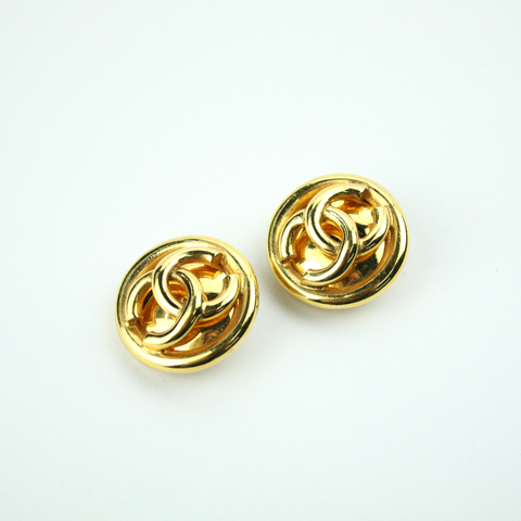 Large Gold Textured Clip-On Earrings with Authentic Chanel Button
