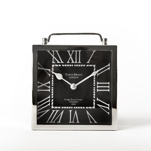 Tribeca Square Table Clock with Roman Numerals