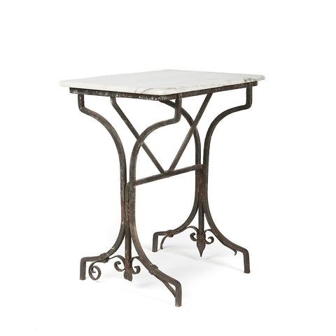 Vintage Garden Table with Marble Top