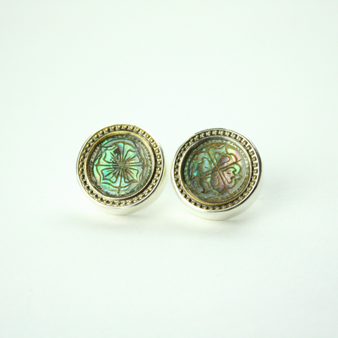 Silver Stud Earrings with Antique Mother of Pearl Button