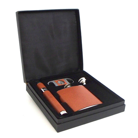 Cigar and Flask Set Tan