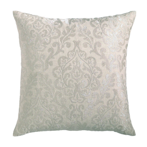 Damask Pillow Metallic Silver
