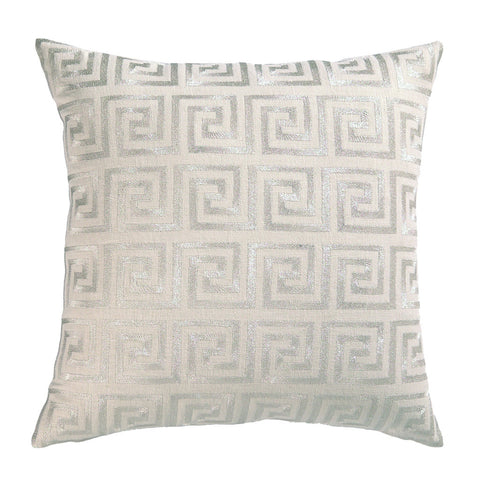 Greek Key Pillow Metallic Silver