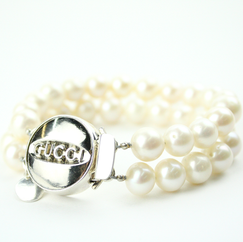 Silver Double Strand Bracelet with Authentic Gucci Button