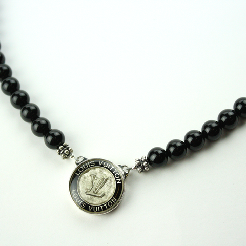 Silver and Gold Black Single Strand Necklace with Authentic Louis Vuitton Button