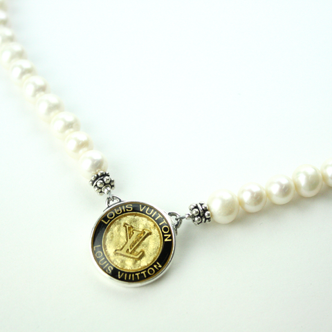 Gold and Black Single Strand Necklace with Authentic Louis Vuitton Button