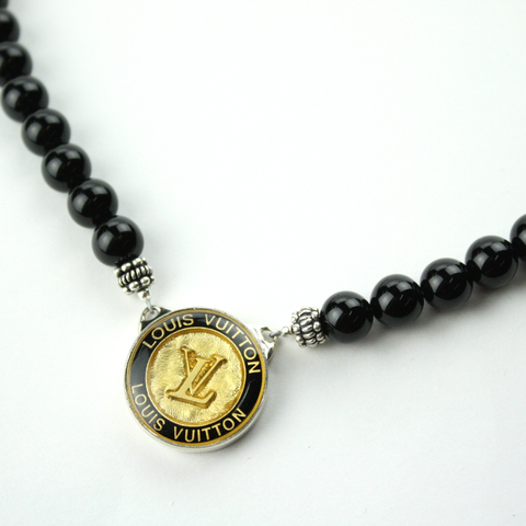 Black and Gold Black Single Strand Necklace with Authentic Louis Vuitton Button