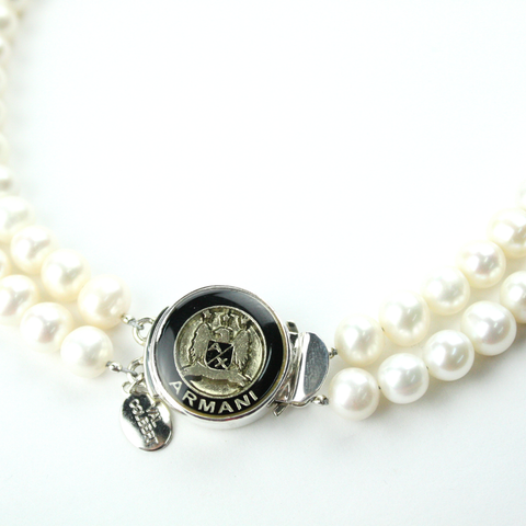 Black and Gold Double Strand Necklace with Authentic Armani Button