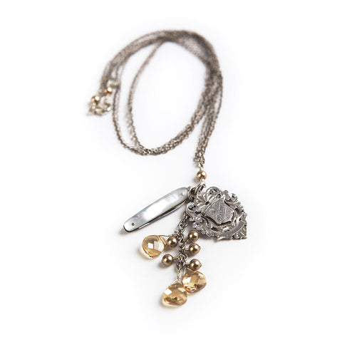 Long Charm Necklace with Antique Fob
