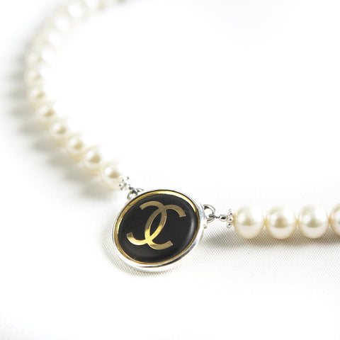 Single Strand Black Matte Gold Chanel Necklace