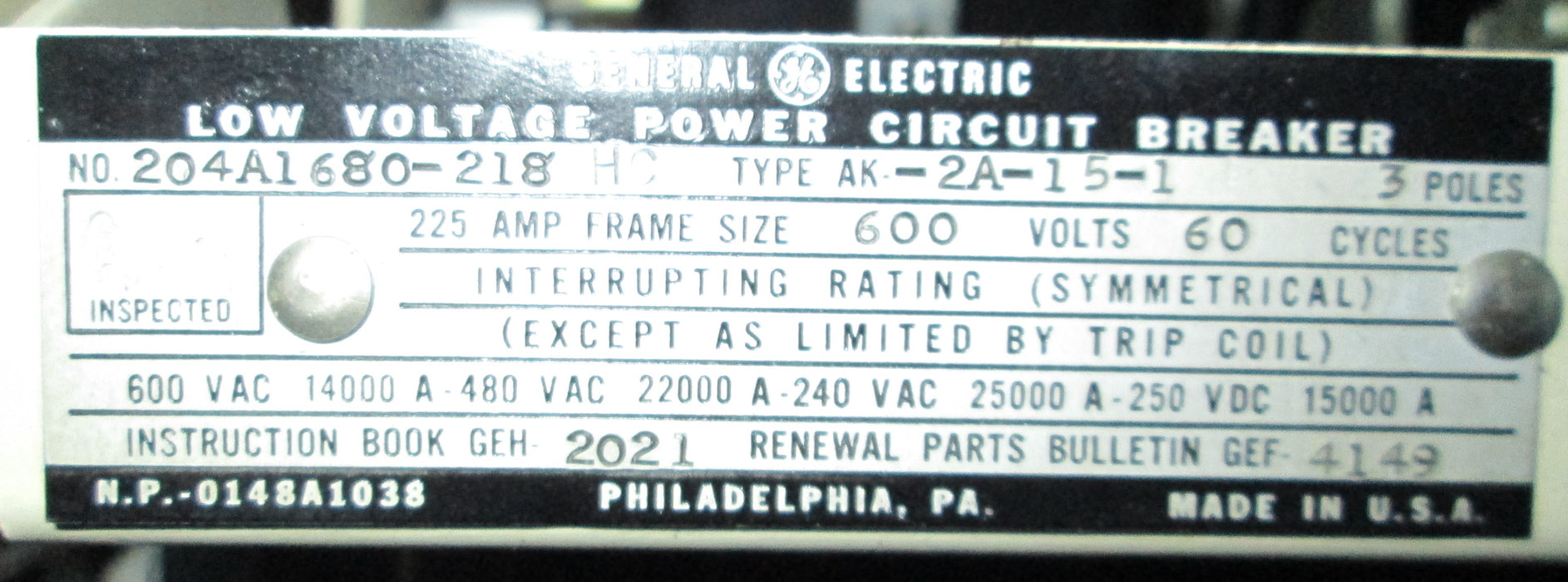 AK-2A-15-1 - General Electric Low Voltage Breaker