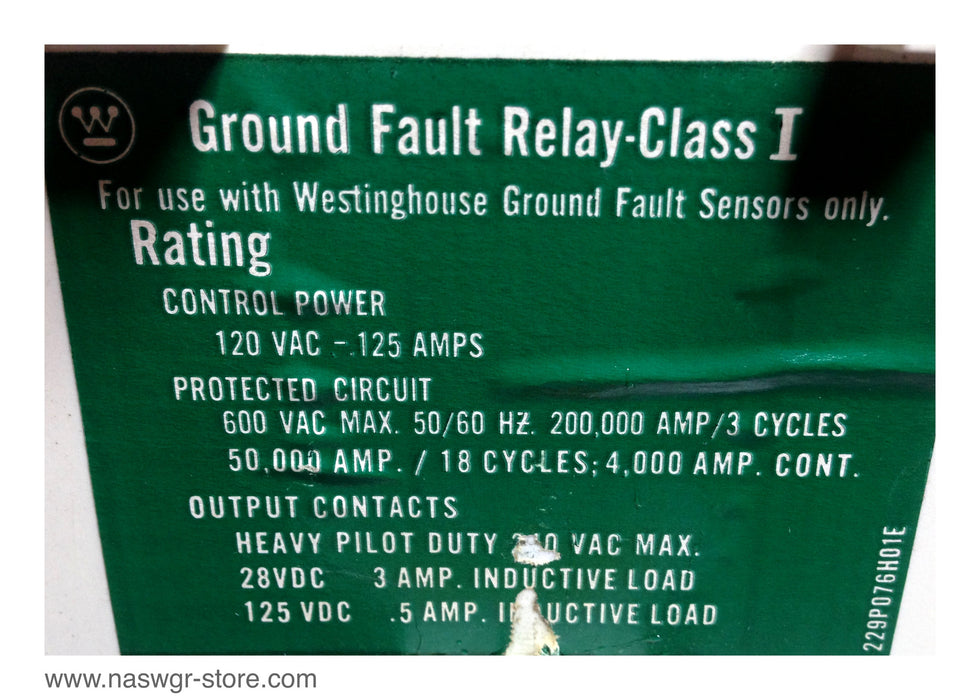 Westinghouse Ground Fault Relay 120VAC Control Power