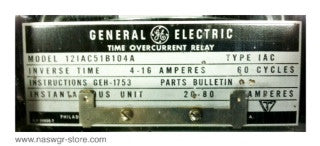 12IAC51B104A , GE Time Overcurrent Relay , Type: IAC , PN: 12IAC51B104A