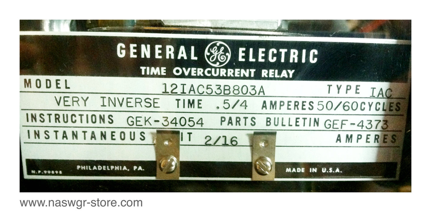 12IAC53B803A ~ GE 12IAC53B803A Time Overcurrent Relay ~Type: IAC