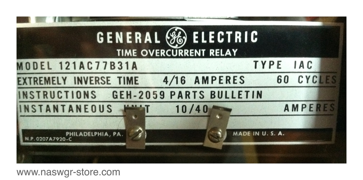 12IAC77B31A , GE Time Overcurrent Relay , Type: IAC , PN: 12IAC77B31A