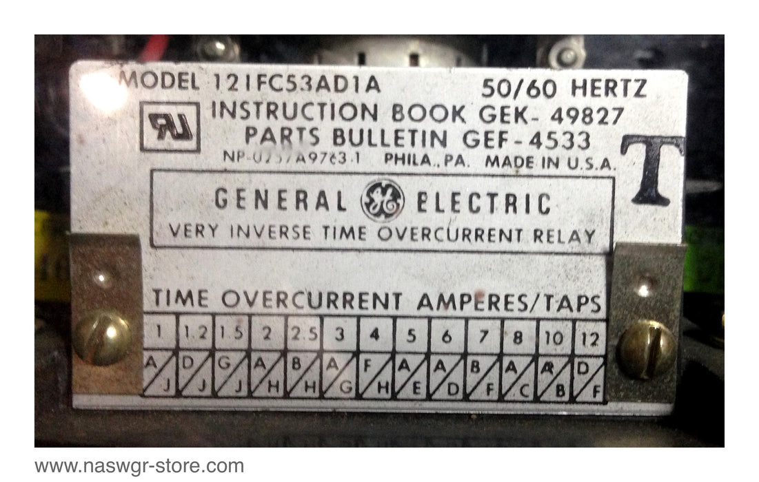 12IFC53AD1A , GE 12IFC53AD1A Very Inverse Time Overcurrent Relay 50/60 Hz