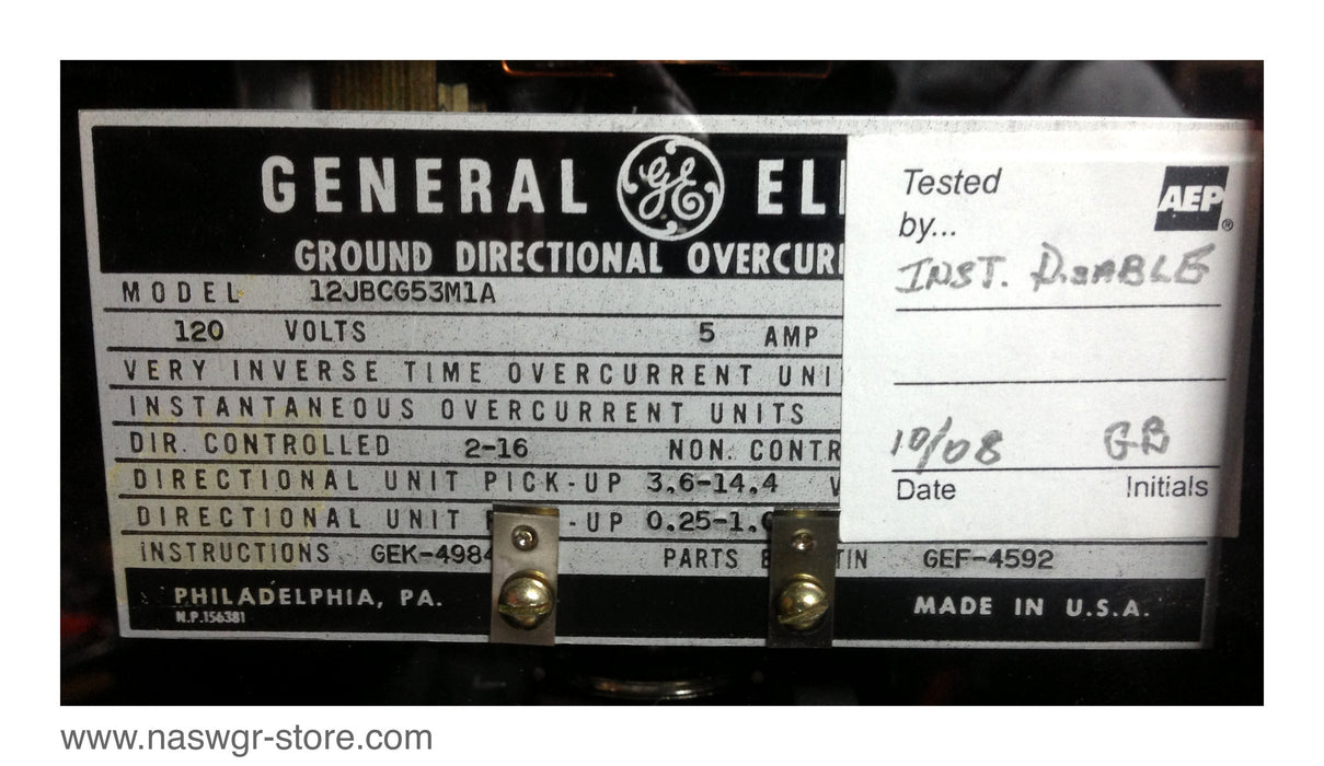 GE 12JBCG53M1A Ground Directional Overcurrent Relay