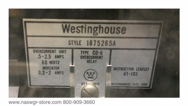 1875265A ~ ABB/Westinghouse CO-8 Overcurrent Relay