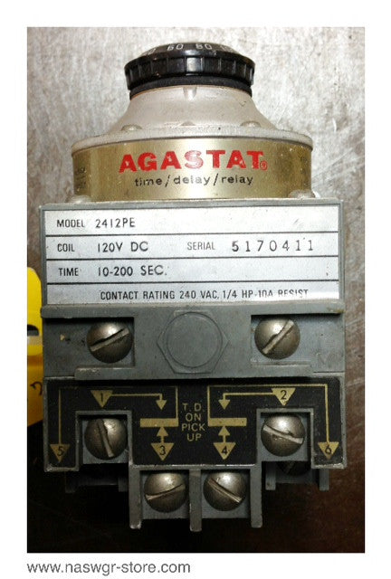 2412PE , Agastat 2412PE Time Delay Relay , Coil: 120V DC , Time: 10-200 Sec. , Contact Rating: 240 VAC , 1/4 HP- 10A Resist , PN: 2412PE
