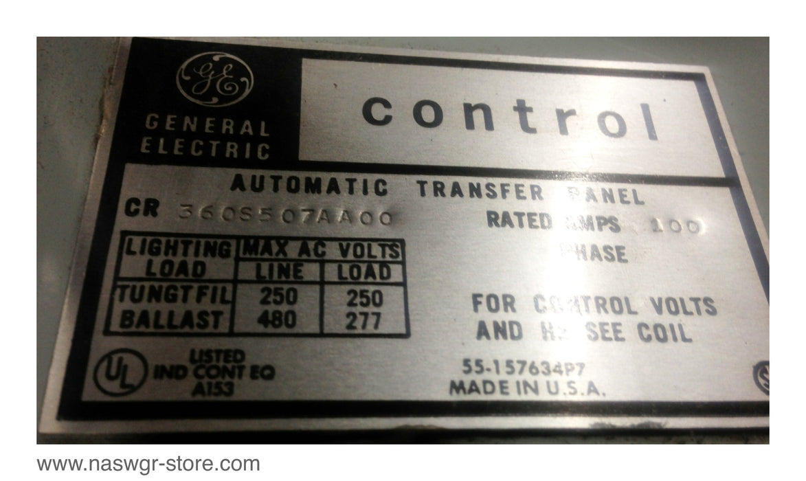 360S507AA00 , GE 360S507AA00 Control Automatic Transfer Panel , Rated Amps: 100 , GE Machine Tool Relay:  22D135 , G3 , 230V ,60Hz , PN: CR2810A14AH , Contactors: 55-501336G003 , Series A , 230-240V , 60 Hz , 220V , 50Hz , PN: 360S507AA00