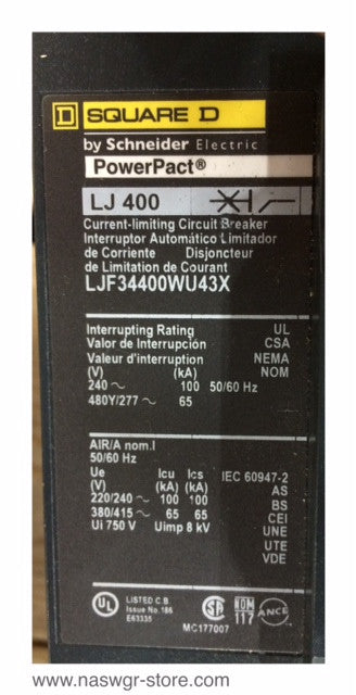 LJF34400WU43X , Square D / Schneider Electric PowerPact Circuit Breaker , LJ 400 , 400 Amp