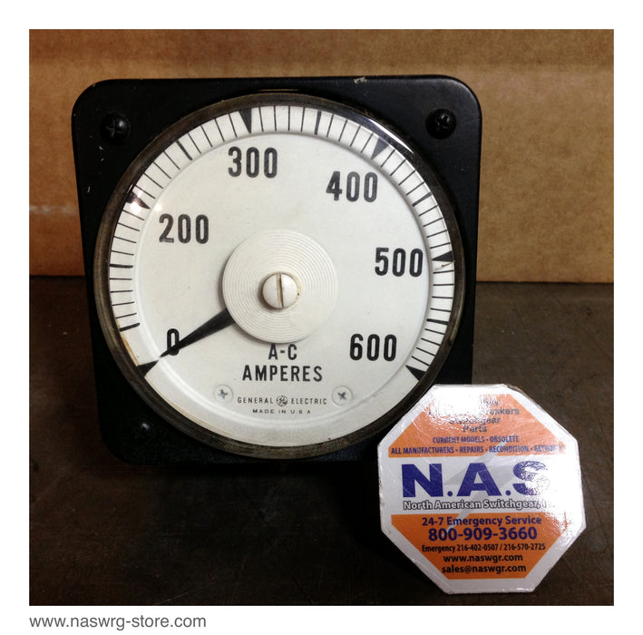 50-100131LGSJ1 , GE A-C Ammeter , 600 ampers , Type: Code NW , Model 8AB18 , Full Scale Amp 2.5 , 40/70 Cycles , PN: 50-100131LGSJ1