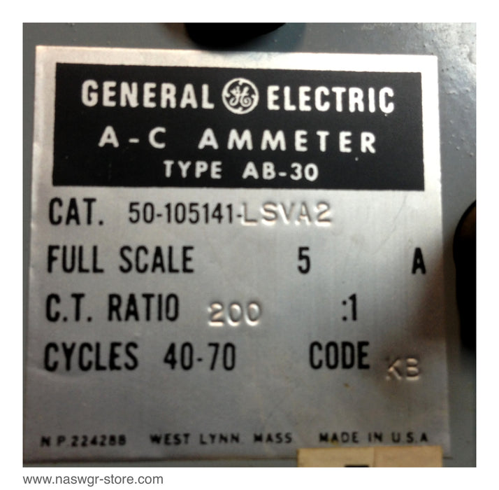 50-105141-LSVA2 , GE A-C Ammeter , Type: AB-30 , Full Scale: 5A , C.T. Ratio: 200:1 , Cycles 40-70 Code: KB , PN: 50-105141-LSVA2