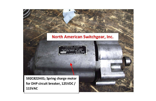 592C822H01; Spring charge motor for DHP circuit breaker, 125VDC / 115VAC